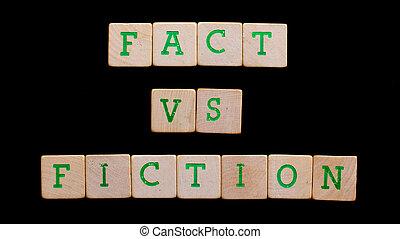 brieven, op, oud, houten blokken, (fact, fiction)
