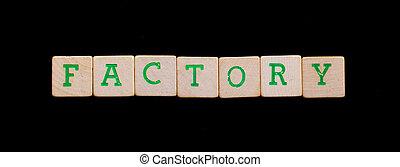 brieven, op, oud, houten blokken, (factory)