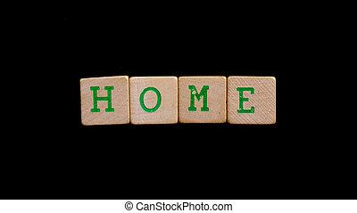 brieven, op, oud, houten blokken, (home)