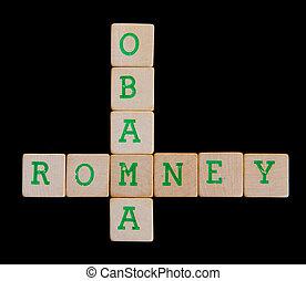 brieven, op, oud, houten blokken, (obama, romney)