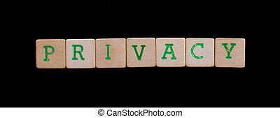 brieven, op, oud, houten blokken, (privacy)