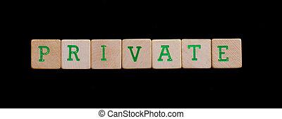 brieven, op, oud, houten blokken, (private)