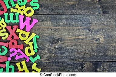 brieven, op, wooden table