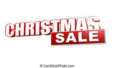 brieven, verkoop, blok, kerstmis, rood, 3d
