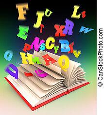 brieven, vliegen, uit, van, een open boek