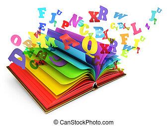 brieven, vliegen, uit, van, een, open, book., magisch, boek