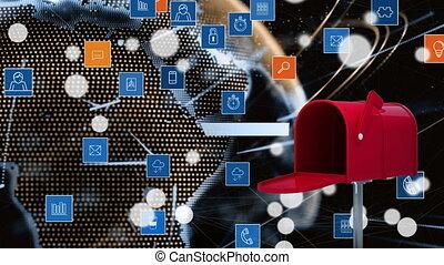 brievenbus, iconen, digitale , app