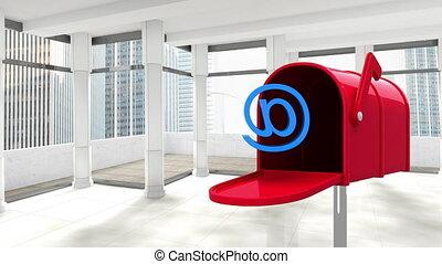 brievenbus, rood, kamer