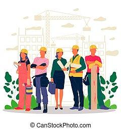 brigádvezető, építők, építészmérnök, konstruál