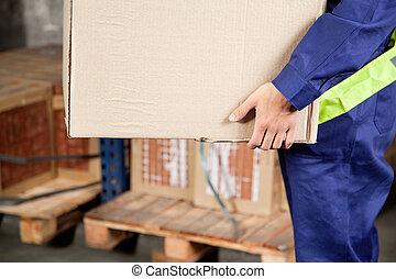 brigádvezető, szállítás, kartonpapír ökölvívás, -ban, raktárépület