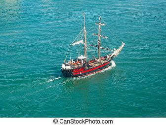 brigantine in sea - brigantine in open sea in sunny day, top...