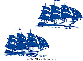 Brigantine ship - Sail ship in ocean water for travel or...
