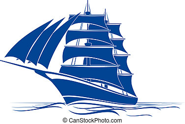 Brigantine ship - Sail ship in ocean water for travel or ...