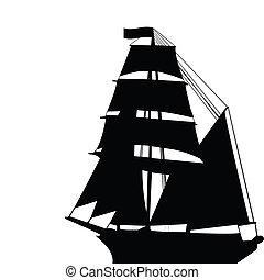 Brigantine silhouette - Black old brigantine silhouette