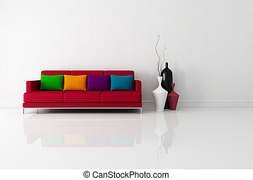 brigh minimalist living room with red fabric couch with...