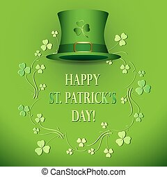 brighht green vector background with hat - saint patrick's day