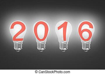 Bright 2016 light bulbs in a row illuminated the dark