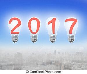 Bright 2017 light bulbs in the sky