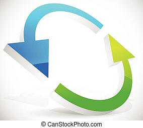 Bright 3d arrows following a circle path, rotating arrows. Design element for repetition, (re)cycle, swapping, interchange, exchange, renewal or resumption concepts.