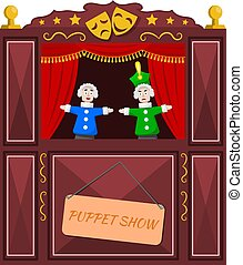 Bright a puppet theater on a white background. Vector illustration of a puppet theater with open scenes and dolls. Cartoon style. Stock vector