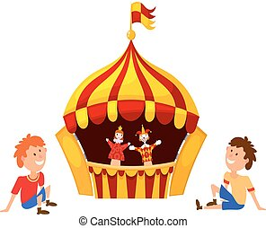 Bright a puppet theater on a white background. Vector illustration of a puppet theater with