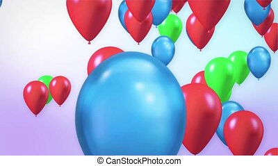 Bright abstract background of jumble of rainbow colored balloons Loop Animation With Alpha Channel. Birthday, Valentines, Anniversary, Holidays and Christmas Party Celebrations.