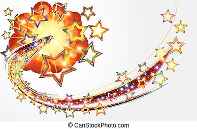 Bright abstract background with explosion stars.