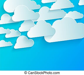 Bright abstract background with white paper clouds on blue sky
