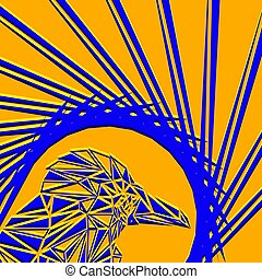 Bright abstract blue bird on a mustard background in the nest.