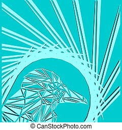 Bright abstract bright bird on a blue background in the nest.