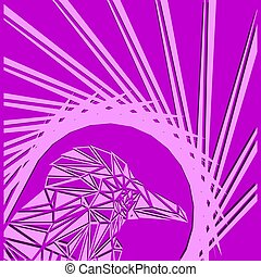 Bright abstract crimson bird on a purple background in the nest.