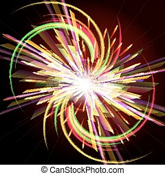 Bright abstract festive fireworks over dark background.