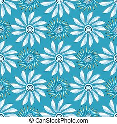 bright abstract flowers on a blue background seamless pattern vector illustration