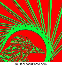 Bright abstract green bird on a red background in the nest.