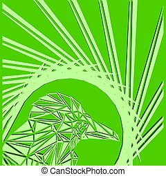 Bright abstract olive bird on a green background in the nest.