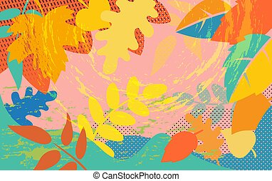 Bright abstract pattern with colorful autumn tree foliage