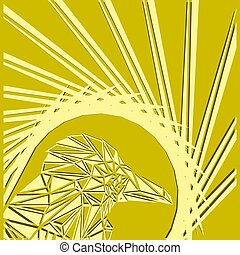 Bright abstract peach bird on a lemon background in the nest.