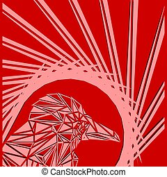 Bright abstract pink bird on a red background in the nest.
