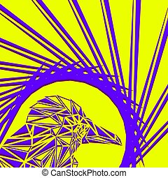 Bright abstract purple bird on a yellow background in the nest.