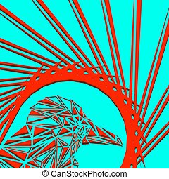 Bright abstract red bird on a blue background in the nest.