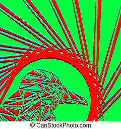 Bright abstract red bird on a light green background in the nest.