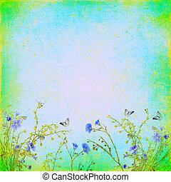 Bright abstract retro background with butterfly and flowers of flax. For any of your project