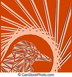 Bright abstract sand bird on orange background in the nest.