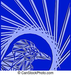 Bright abstract sea bird on a blue background in the nest.