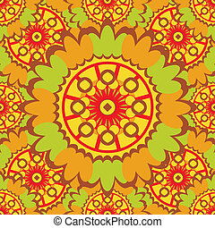 Bright abstract seamless pattern with round ornamental elements. Vector orange background.