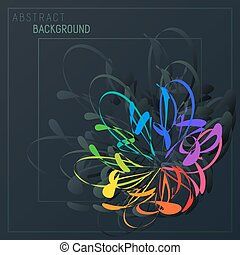 Bright Abstract Stylization Colorful Flower in Dark Background.