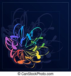 Bright Abstract Stylization Colorful Flower in Dark Blue Background.