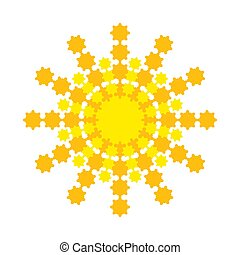 Bright abstract sun with yellow-orange rays