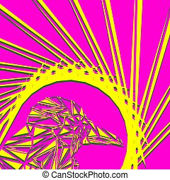 Bright abstract yellow bird on a pink background in the nest.