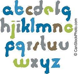 Bright acrylic font, handdrawn
